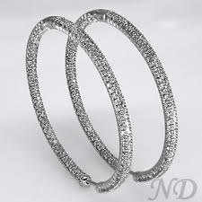 hoop diamond earrings large pave diamond inside outside hoop earrings