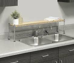 amazon com whitmor supreme sink shelf wood u0026 chrome home