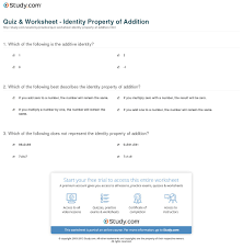 identity property worksheet worksheets