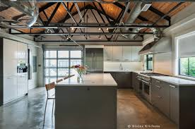 a polished concrete kitchen floor