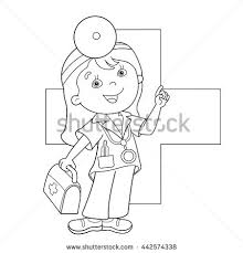 coloring outline cartoon doctor stock vector 442574338