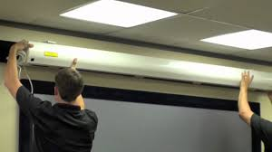 How To Hang A Projector Screen From A Drop Ceiling by Performance Motorized Install Youtube