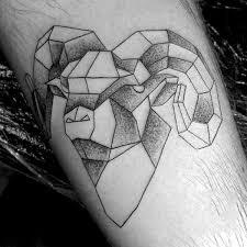guys geometric shaded aries arm tattoo of ram tattoos