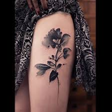 black and white watercolor flower thigh