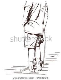 sketch boy standing on one leg stock vector 426027898 shutterstock