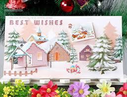 cheap christmas cards big size 12 0x21 5 cm snow and house 3d handmade christmas greeting