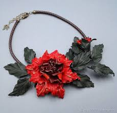 leather flower necklace images Necklace from skin the marvellous garden leather flowers shop jpg