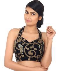 halter neck blouse amodini black and golden designer back and halter neck blouses