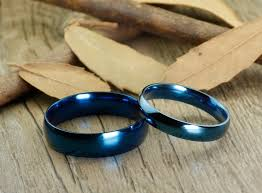 couples rings set images Handmade blue dome plain matching wedding bands couple rings set tit JPG