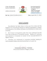 disclaimer notice nigeria consulate of atlanta