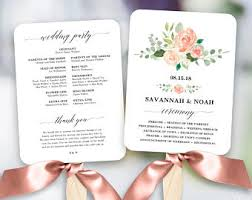 wedding program fan kits invitation templates etsy