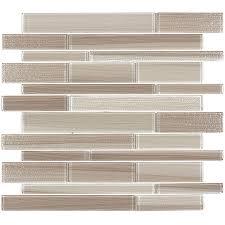 shop elida ceramica brushed sand linear mosaic glass wall tile