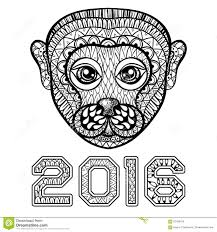 hand drawn monkey head symbol of new year 2016 zentangle illus
