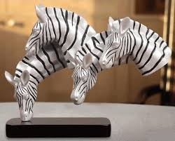abstract zebra heads statue handmade resin animal bust