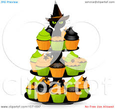 clipart 3d black witch cat on a halloween cupcake stand royalty