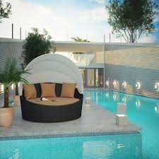 Outdoor Wicker Patio Furniture Round Canopy Bed Daybed - siesta all weather wicker canopy daybed walmart com