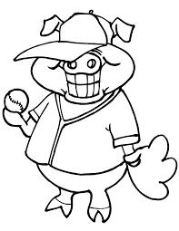 printable baseball coloring page pig baseball player clip art