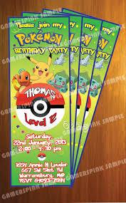 homemade minecraft invitations pokemon personalized birthday party invitation pokemon ticket