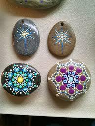 Original Home Decor Hand Painted Beach Stone Colorful Dot Art Mandala Painted Rock