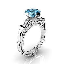 Blue Diamond Wedding Rings by Art Masters Caravaggio 950 Platinum 1 25 Ct Princess Blue Topaz