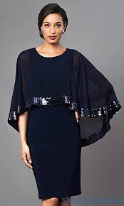 sd s275091 knee length navy blue dress with attached cape navy