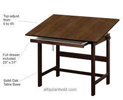 Drafting Table Base Titan Solid Oak Drafting Table W Drawer 42â L X 31â W X 37â H