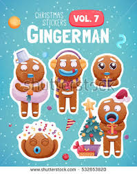 set christmas stickers expressive gingerbread man stock vector