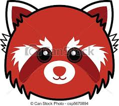 eps vector of cute red panda vector cute animal faces in one of