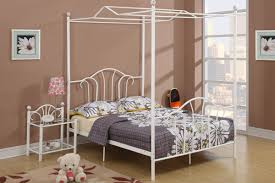 bedroom black polished wrought iron canopy bed which combined