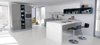 White And Blue Kitchen - modern grey and white kitchen with oven contemporary design
