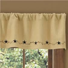 country straight valance curtains burlap star lined embroidered