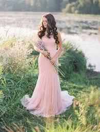 blushing pink tulle illusion one shoulder simple mermaid wedding