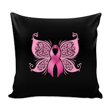butterfly pink ribbon breast cancer awareness decorative throw