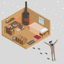 man walking out from his house at morning 3d isometric home