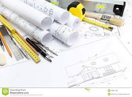 architectural house plans and work tools stock photo image 39067188