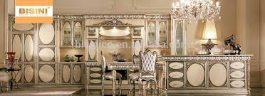 luxury solid wood carved kitchen cabinet with gold painting