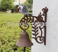 rusty cast iron dinner bell peace dove welcome wall mount