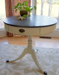 drum table in old white u0026 vermont slate urban farmhouse finishes