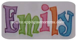 applique zig zag emily applique font slim letters zig zag finish great for name