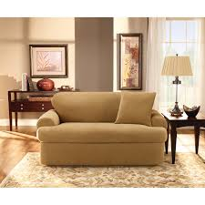 Slipcovers For Sofas With Three Cushions Living Room Sure Fit Stretch Pique T Cushion Three Piece Sofa