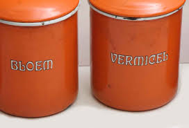 set of five orange kitchen metal canisters olde good things