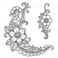henna tattoo flower template mehndi style stock vector art