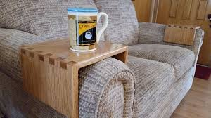 drink table diy u2013 sofa drink holder using simple box joints youtube