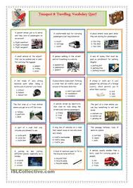 transport and travelling vocabulary quiz board games