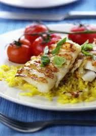 cuisiner le dos de cabillaud à la poele eglefin poêlé et riz au curcuma