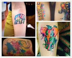 2014 colorful elephant watercolor tattoo on forearm for girls