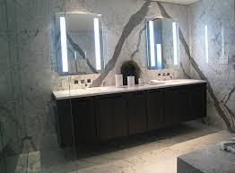 bathroom supple rectangle frameless wall mirror next to shower