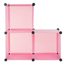 everyday home 14 in x 14 in pink plastic stackable 3 cube