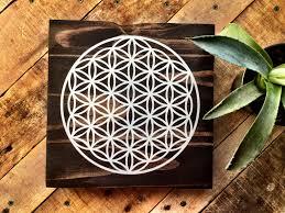 painting artwork on wood wood wall flower of mandala painting sacred geometry