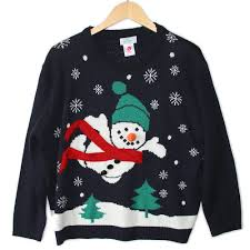 superman snowman tacky sweater the sweater shop